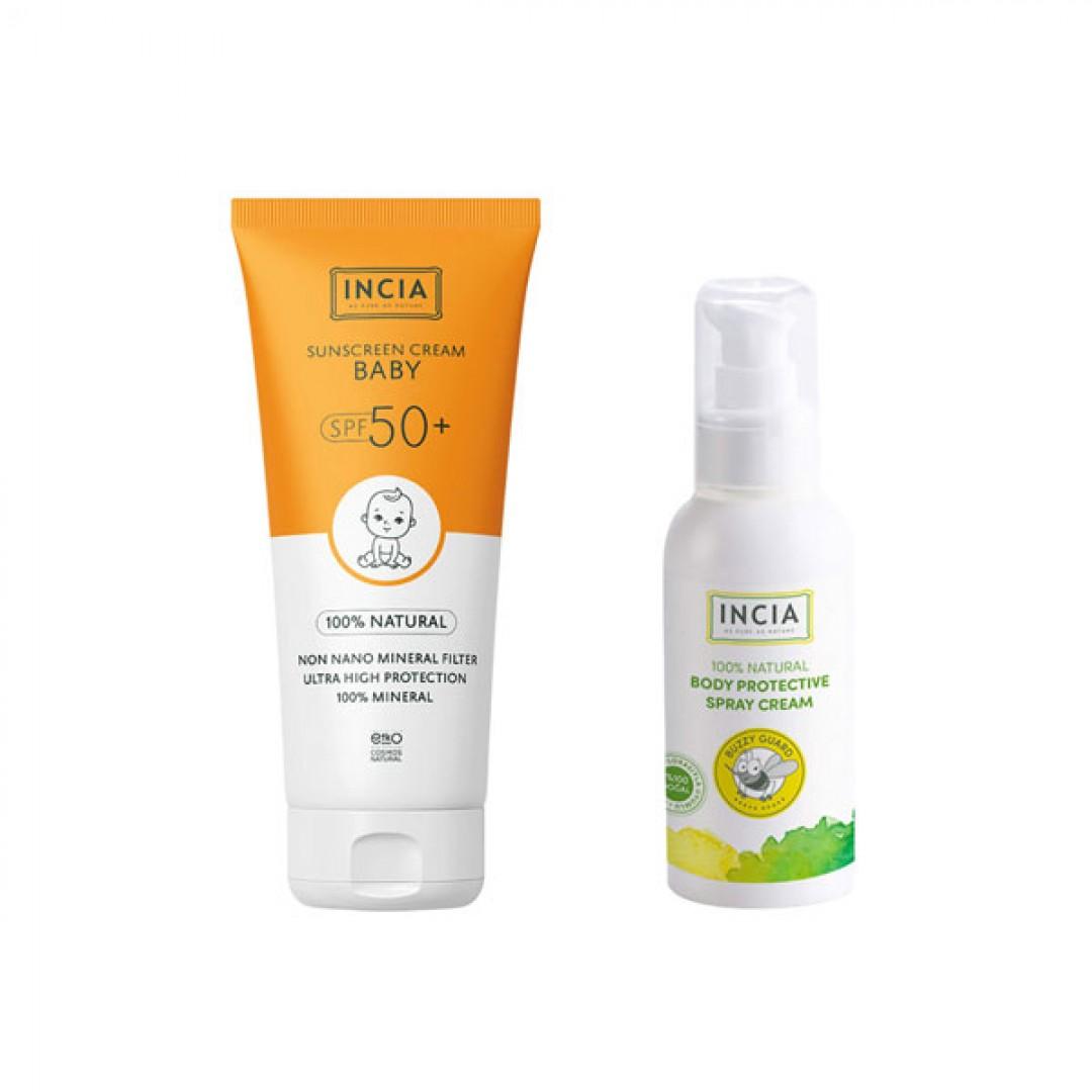 INCIA SunScreen Cream Baby SPF50+ 100 ml & Protective Body Lotion 100 ml - Kozmopol