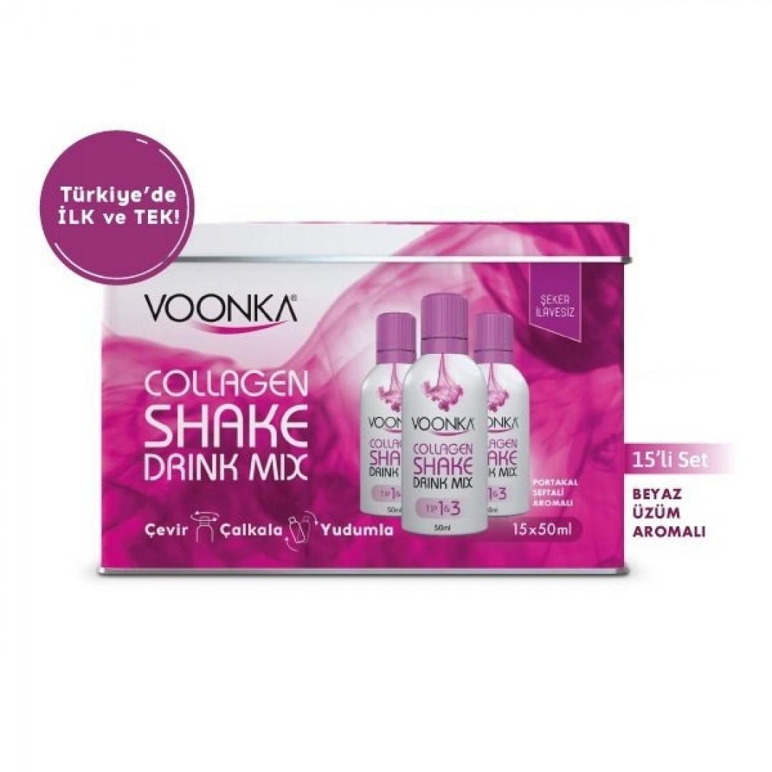 Voonka Collagen Shake Drink Mix 15x50 ml - Beyaz Üzüm Aromalı