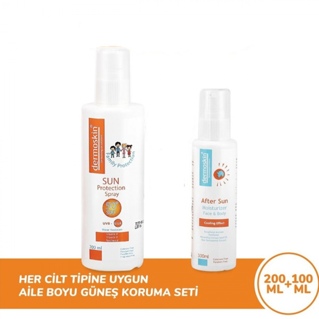 Dermoskin Aile Boyu Güneş Koruyucu Sprey SPF50 200 ml + After Sun Losyon 100 ml