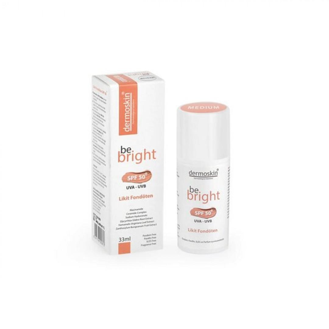 Dermoskin Be Bright SPF50+ Likit Fondöten Medium 33 ml - Kozmopol